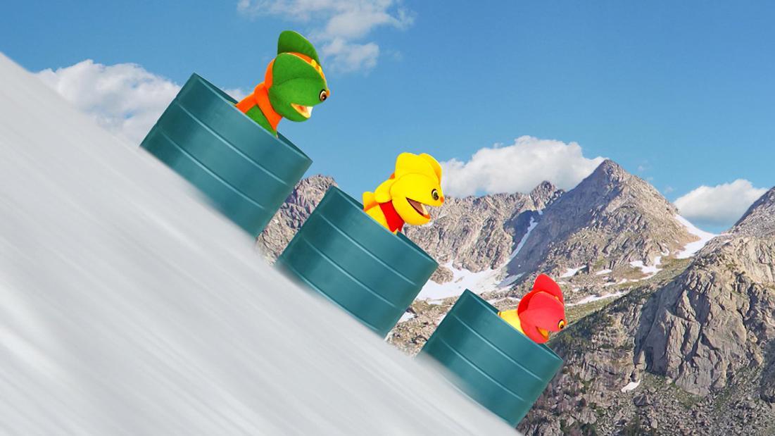 TataTitiToto ไดโนจอมป่วน - เล่นสกีถังน้ำ