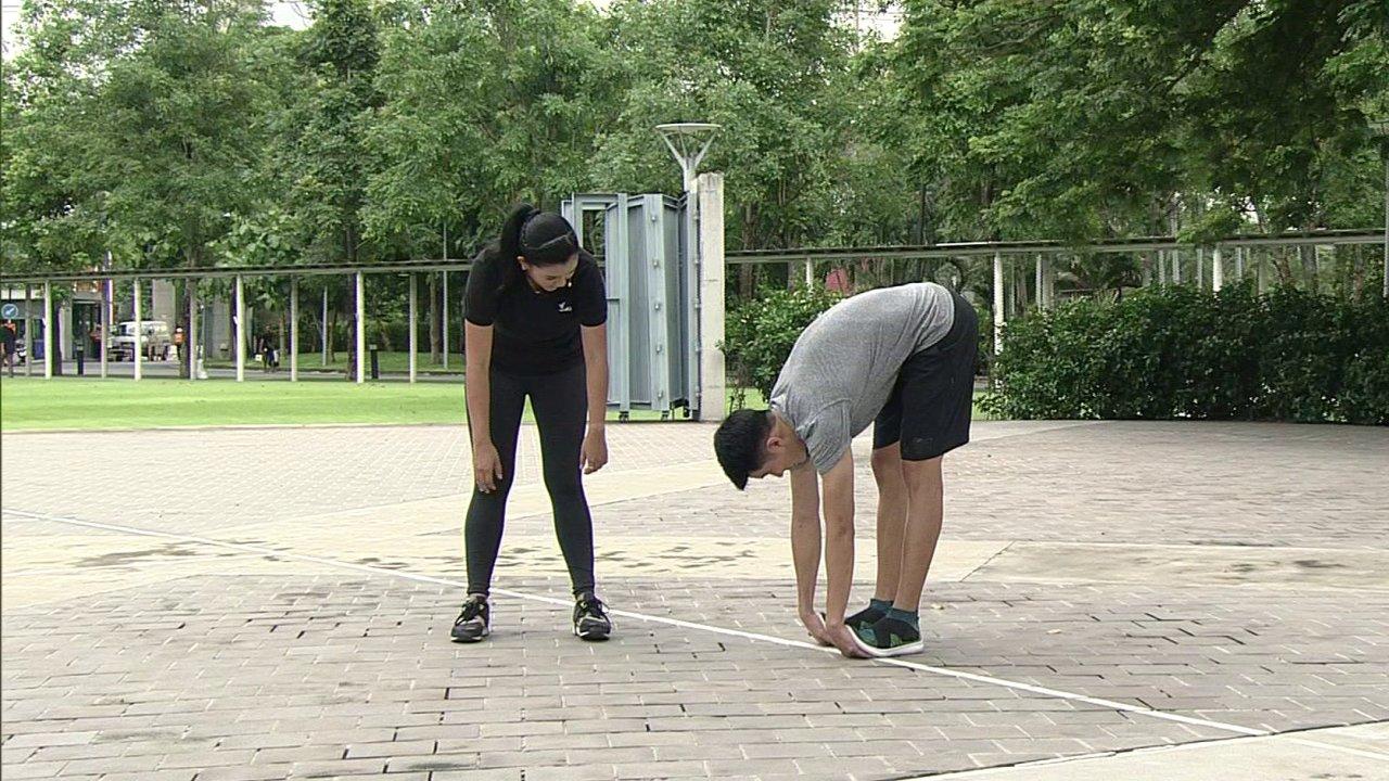 ข.ขยับ X - ยืดกล้ามเนื้อต้นขาหลัง ก่อนและหลังออกกำลังกาย
