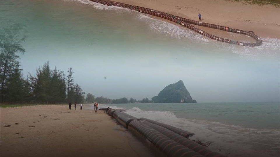 ร้องทุก(ข์) ลงป้ายนี้ - ท่อส่งน้ำมันดิบขนาดใหญ่หนัก 14 ตันลอยเกยชายหาด จ.ชุมพร