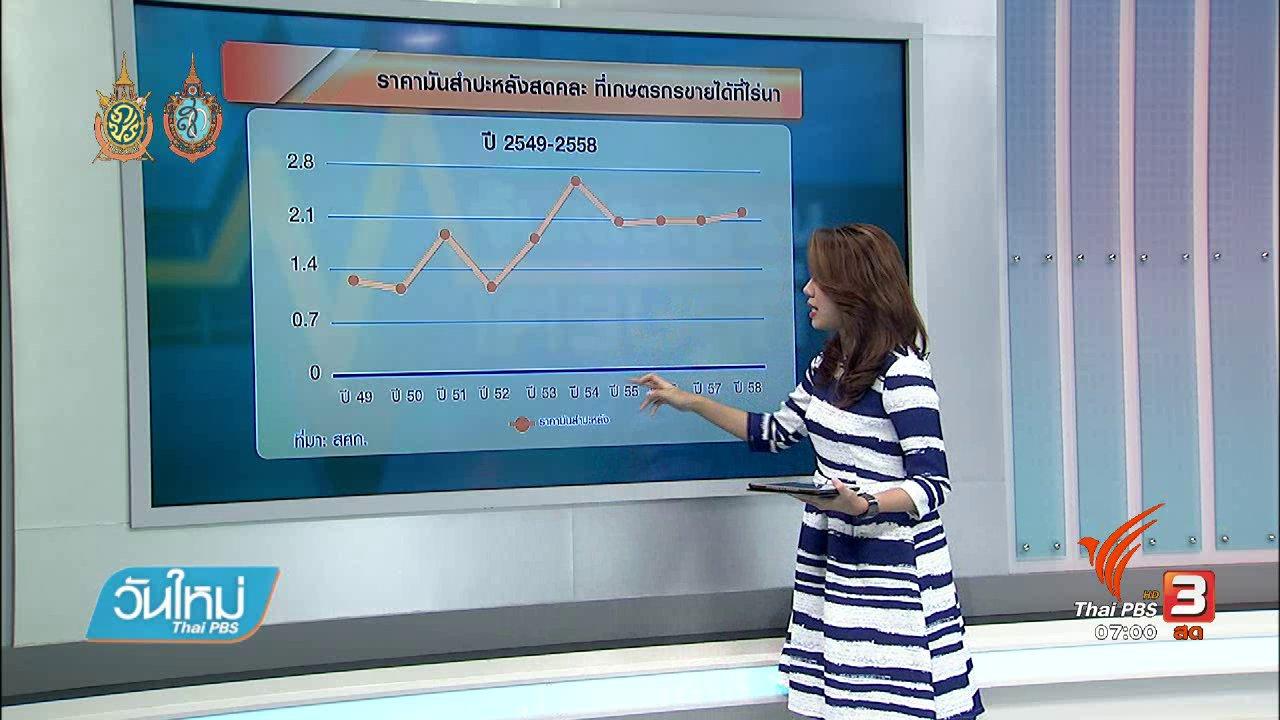 วันใหม่  ไทยพีบีเอส - จับสัญญาณเศรษฐกิจ : ก.พาณิชย์ออกมาตรการดูแลราคามันสำปะหลังตก