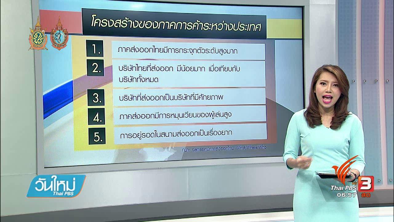 วันใหม่  ไทยพีบีเอส - จับสัญญาณเศรษฐกิจ : ธปท. แนะจับตาตัวเลขการส่งออกในระยะยาว