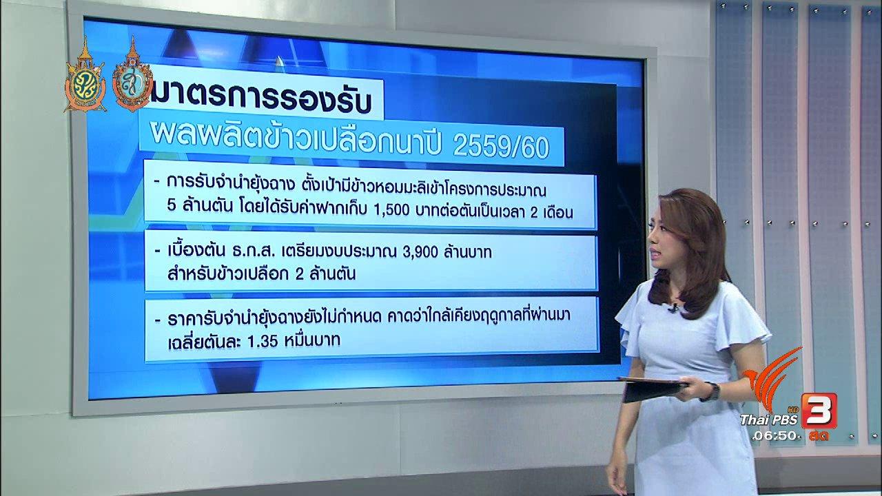 วันใหม่  ไทยพีบีเอส - จับสัญญาณเศรษฐกิจ : รัฐออกมาตรการดูแลเสถียรภาพราคาข้าว