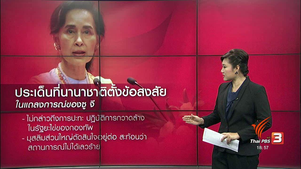 """ข่าวค่ำ มิติใหม่ทั่วไทย - วิเคราะห์สถานการณ์ต่างประเทศ : นานาชาติคาดหวัง """"ซูจี"""" มากเกินไป?"""