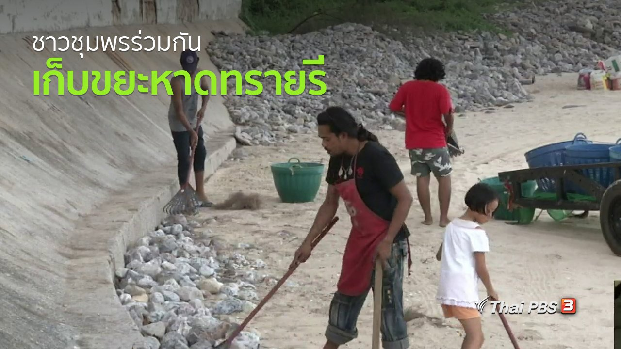 ทุกทิศทั่วไทย - ชุมชนทั่วไทย : ชาวชุมพรร่วมกันเก็บขยะหาดทรายรีทุกวันศุกร์