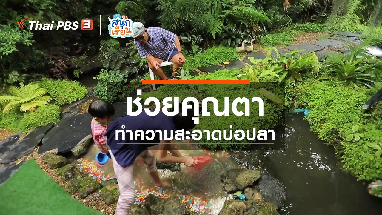 สนุกเรียน - วิชาประสบการณ์ชีวิต : ช่วยคุณตาทำความสะอาดบ่อปลา